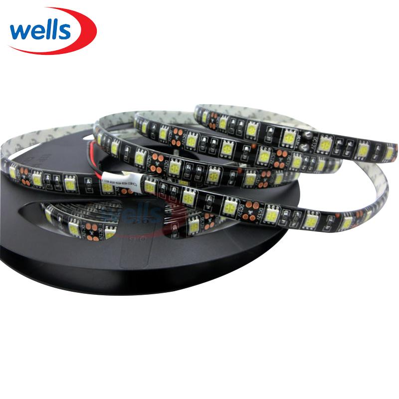 5M 300 RGB 5050 SMD Flexible LED Strip Light 60 LEDs/M led strip 5050 waterproof Black PCB 12V(China (Mainland))