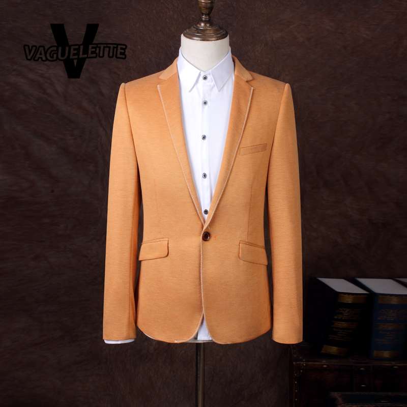 Solid Orange Blazer Masculino Party Clothes Stage Wear For Singer Fashion Korean Slim Fit Mens Suit Blazer Jacket L-3XL(China (Mainland))