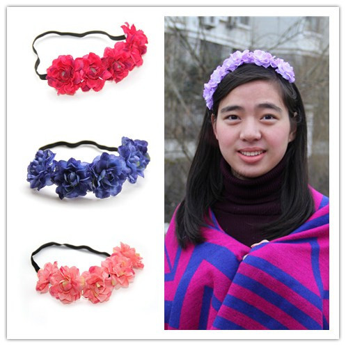 12pcs/lot Fabric Flower Headband Woman Girls Wedding Party Hair Accessories,Bride Bridesmaid hair flower. mix colors(China (Mainland))