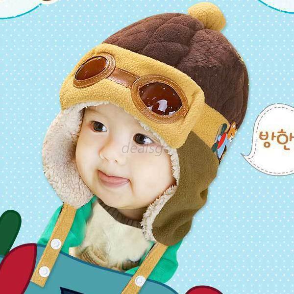 Boys Girls Baby Pilot Aviator Hats Winter Cotton Warm Ear Cap Beanie 4 Colors(China (Mainland))