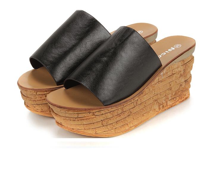 Bingo women shoes cow split classic trifle button slides women sandals black and white casual summer wear peep toe shoes(China (Mainland))