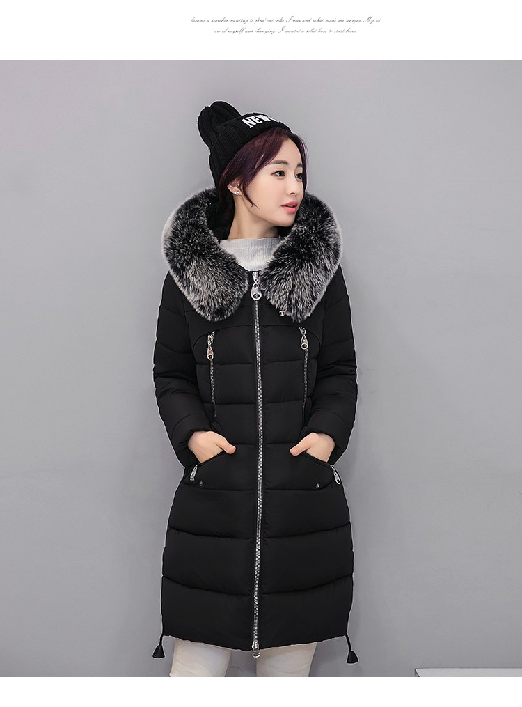 Winter down jacket women's Fur collar fashion Slim large yards thicker coat