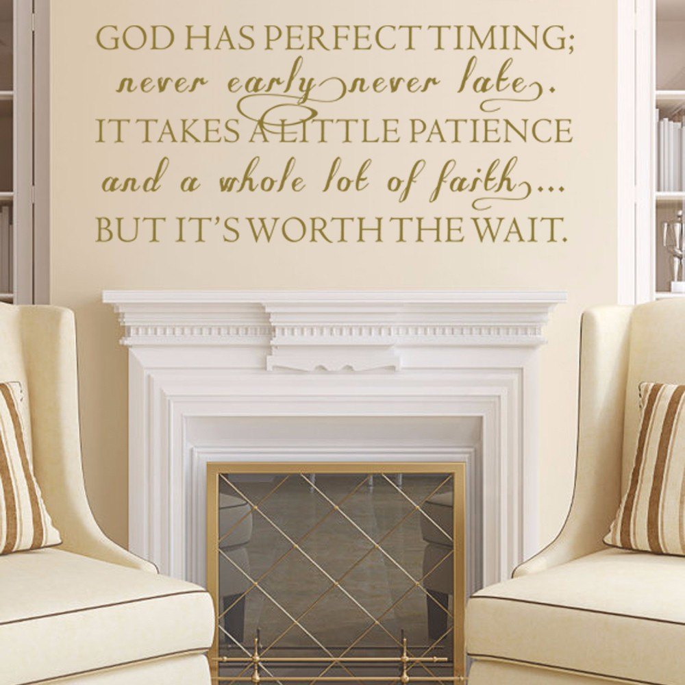 Christian wall decal god has perfect timing phrase decal for Christian wall mural