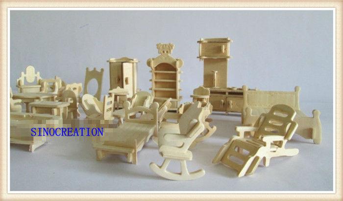 DIY Mini Furniture 34pcs/set Children's Educational Wooden Dollhouse Furniture Toy, 3d Woodcraft Puzzle Construction Kit Toy