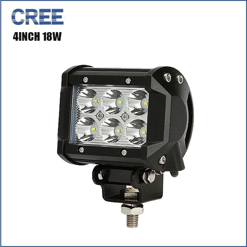 Cree 4Inch 18W spot beam LED work Light Bar Offroad Boat Tractor Truck 4x4 SUV ATV Motorcycle Driving headlight flog lamp 12 24V(China (Mainland))