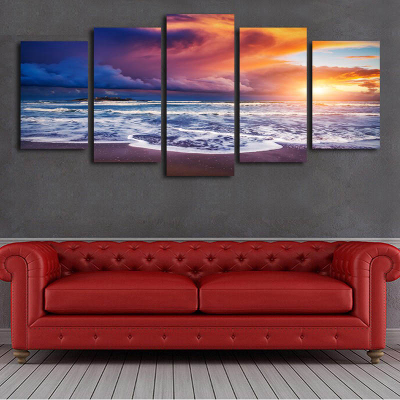 5 Panel Pictures Canvas Painting Gold Orchid Flower Painting Wall Art Decorative Canvas Wall Art Modular Picture no framed