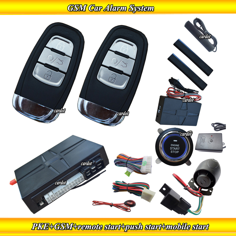 Russia Product Passive keyless entry GSM car alarm,hopping code,mobile start,remote start,push start,petrol&diese mode support(China (Mainland))