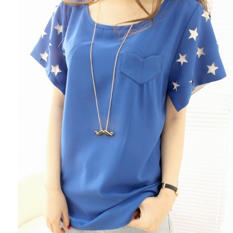 2013 summer women's all-match loose plus size casual sleeves chiffon shirt short-sleeve top