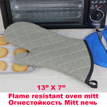(1 piece)13 inch Flame Resistant and heat resistant Cotton canvas Oven Mitt for Kitchen/Outdoor BBQ tableware Accessories