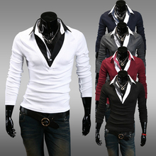 Direct Selling Limited Broadcloth Cotton Full 2014 Men's Clothing Slim Male One Piece Faux Two Casual Long-sleeve T-shirt
