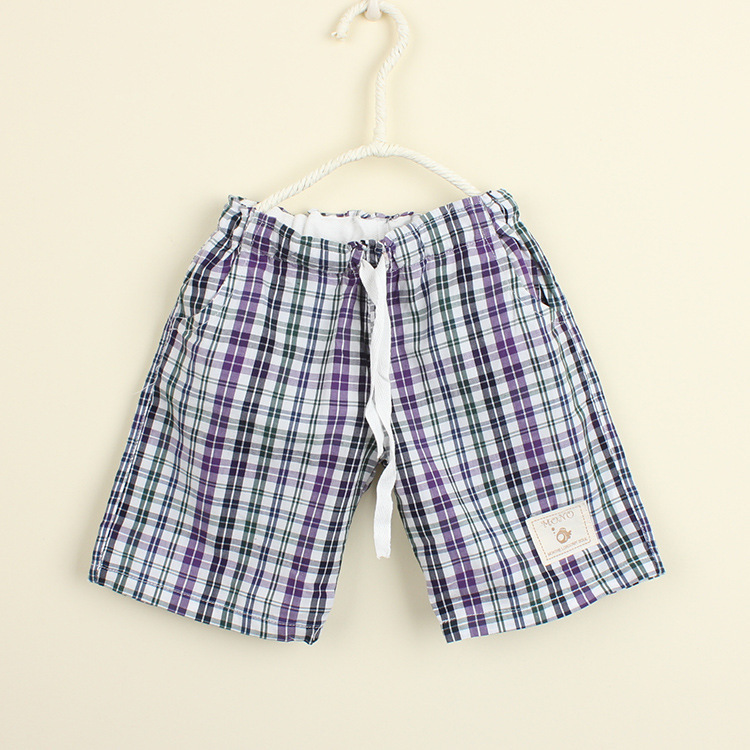 New arrival 2015 Summer children shorts Woven cloth beach grid pants baby Boys children's shorts purple/blue/sky blue color(China (Mainland))