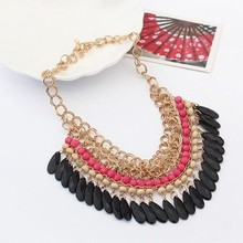 2015 Bohemian Tassels Drop Vintage Gold Choker Chain Statement Necklaces Pendants Fashion Jewelry For Woman