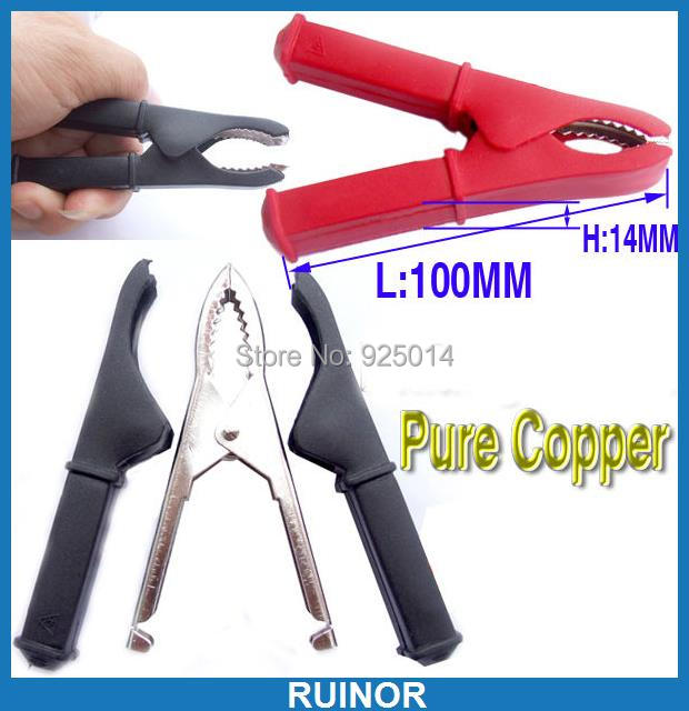 4PCS Copper 100A BATTERY CLIP ALLIGATOR CAR Battery Test Clamp Pliers Cable DIY<br><br>Aliexpress