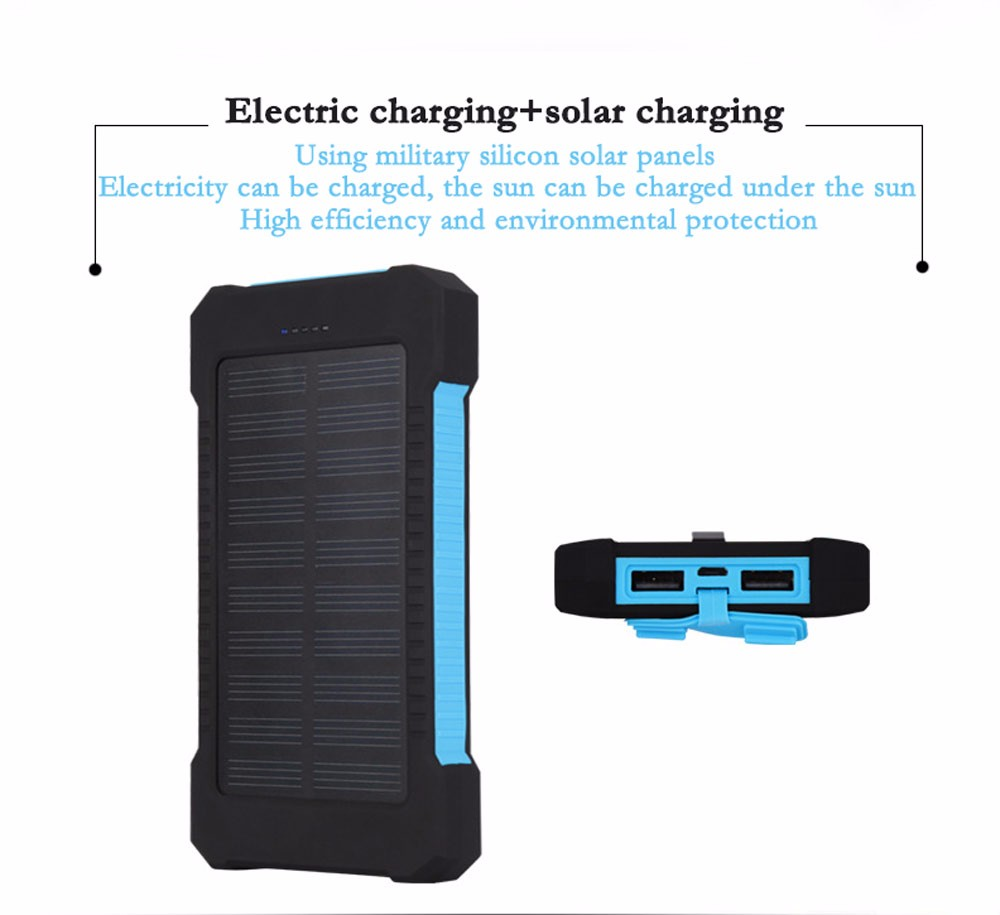 New outdoor Solar power bank real12000 mah mobile powerbank universal portable solar charger best quality solar battery