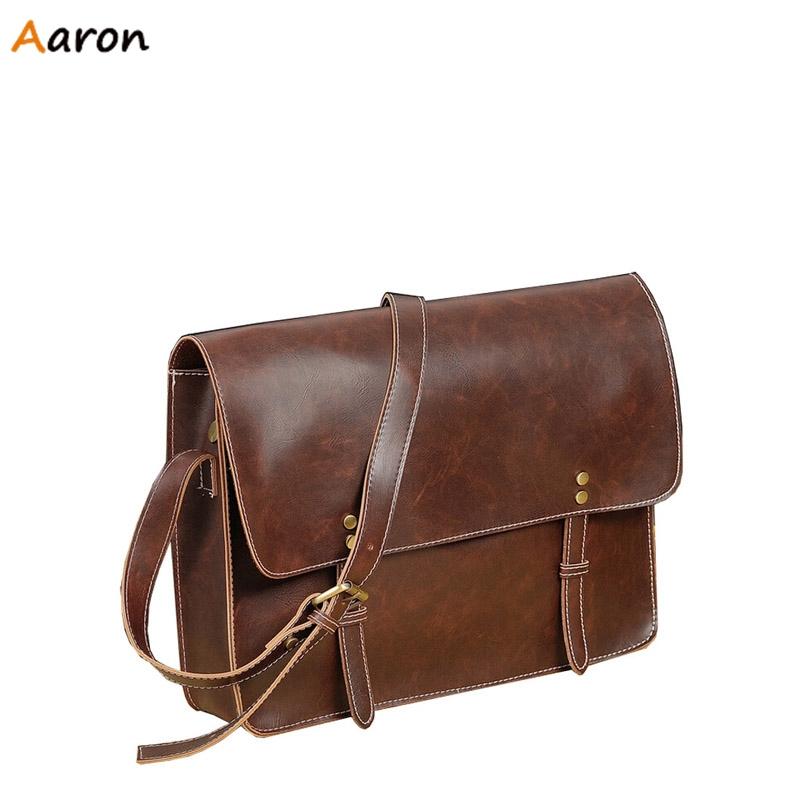 Aaron 2015 Brand New Vintage Double Belt Opening Men s Shoulder Bags Rivet Single Shoulder Belt