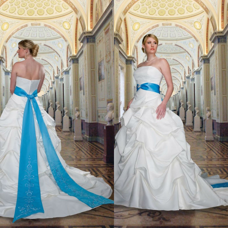 Royal blue and white plus size wedding dress bridesmaid for Blue wedding dresses plus size