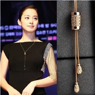 2015 womens fall fashion bijoux colliers Pendant & Necklace Quality 18k Gold AAA Austrian Crystal Tassel Long Necklaces Jewelry(China (Mainland))