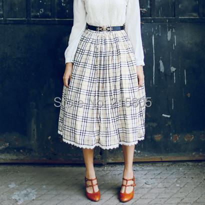 2015 Quality Women Long Khaki Plaid Waisted Cotton Skirts Elegant Vintage Big Hem Lace Preppy Style girls - LOOKWEEN store