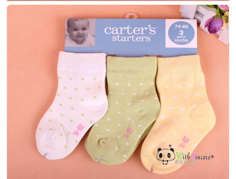 2015 new 3 Pairs/lot Baby Socks Carters Cotton Sock baby girl's boy's socks New Born Infant Carters socks carters baby boy(China (Mainland))