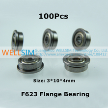 100Pcs F623 Flange bearing 3*10*4mm With flange Edge Laser Level Instrument Laser line instrument For 3D Printer Accessories