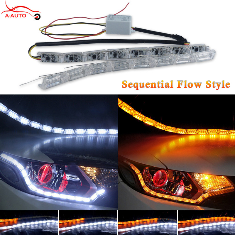 2xSequential Audi Flow Style Car DRL White Amer LED Headlight Flexible Strip Angel Tear Eye Turn Signal Switchback Lamp