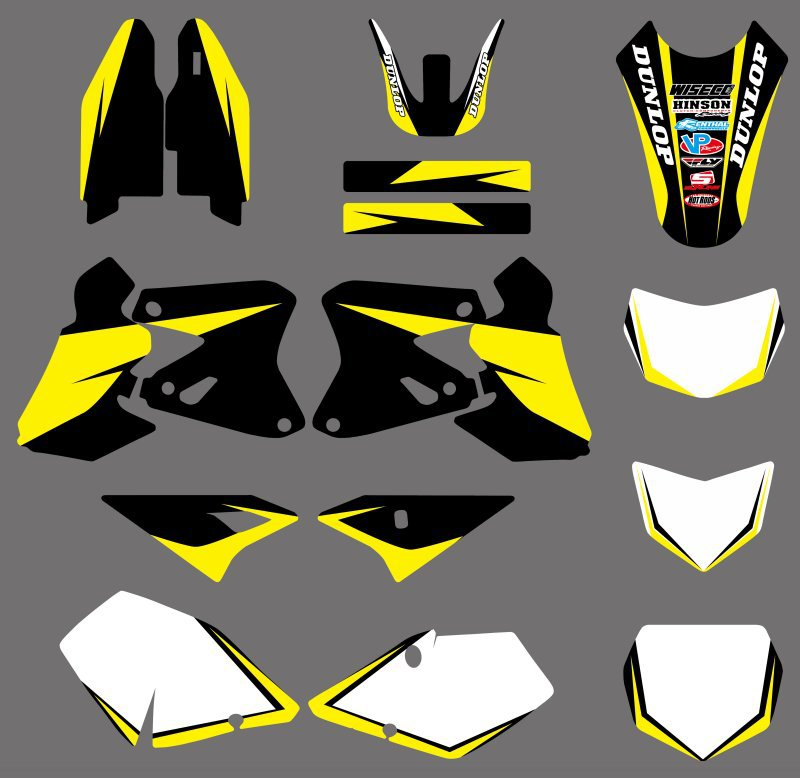 0359 Yellow &amp; White  New Style TEAM GRAPHICS &amp; BACKGROUNDS  DECALS Stickers FOR  DRZ400 DRZ 400 2000-2012<br><br>Aliexpress