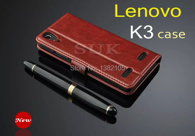 High quality soft leather cover Lenovo K3 case Cikou book style flip cell phone shell for Lenovo Lemon K3 cover Free shipping(China (Mainland))