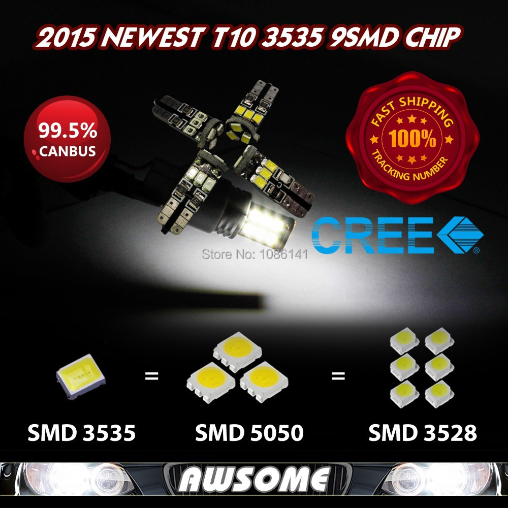 10x 2015 NEWEST 3535Chip T10 W5W LED CANBUS 9SMD Car Dome Map Turn Singal Width Backup License Plate 500lm Bright White Blue(China (Mainland))
