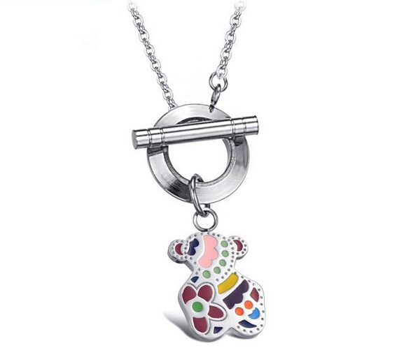 2015 New Fashion Jewelry Fashion Lovely Color Bear Necklace For Women Titanium Steel Necklaces Collar Del Oso(China (Mainland))