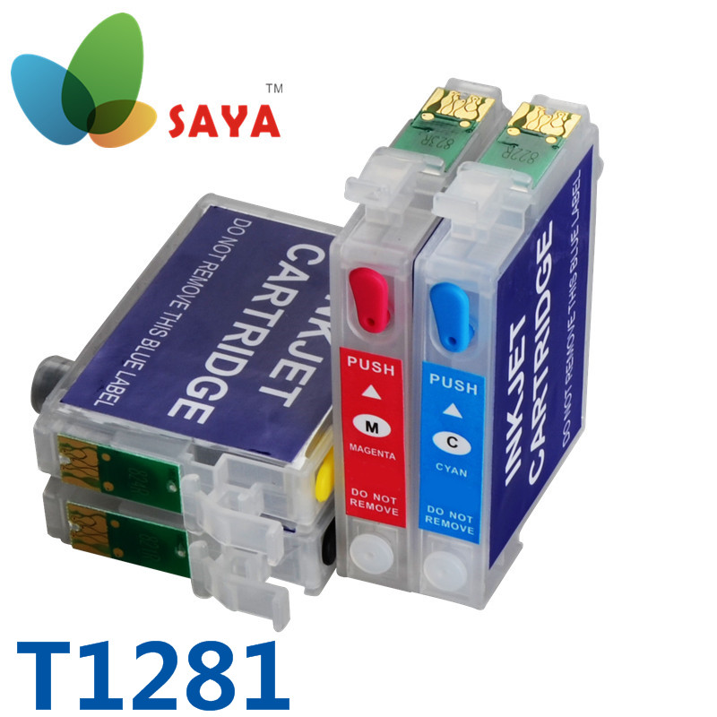 Refillable ink cartridge T1281-T1284 FOR EPSON Stylus S22 SX125 SX420W SX425W Office BX305F BX305FW ink cartridge free shipping