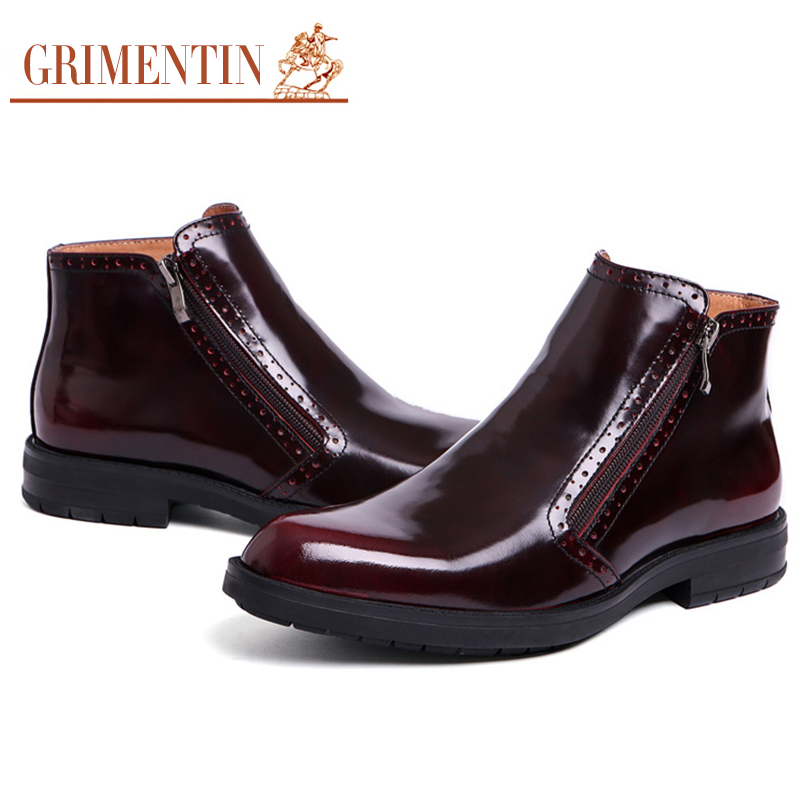 2015 British luxury mens ankle boots genuine leather black brown man shoes for weding 274(China (Mainland))