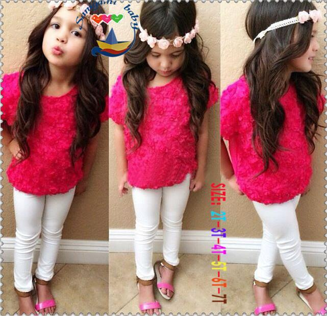 2015 new Children sets Grils Roses T-shirt + white trousers 2 piece suit Fashion Kids Clothing(China (Mainland))