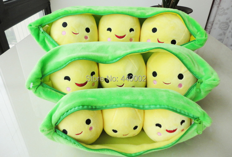 New Arrival 9'' High Quality Super Cute Little Peas Stuffed Plush Doll 3 peas in a pod pea Toy Free Shipping 2/LOT(China (Mainland))