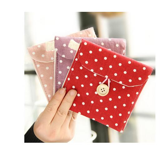 Free Shipping Brief Cotton Full Dots Sanitary Napkin Bags Sanitary Towel Storage Bag(China (Mainland))