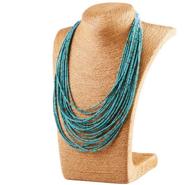2015 New Hot Fashion Bohemian Ethnic Style Multilayer Colorful Beads Bib Choker Necklace Collar Statement Jewelry