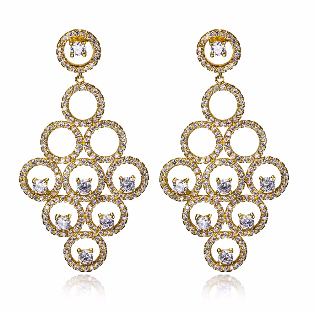 Beauty Fashion Earrings Vintage Women Long Drop Earrings Round shape Platinum 18K Gold plated White Cubic zirconia Brass Metal(China (Mainland))