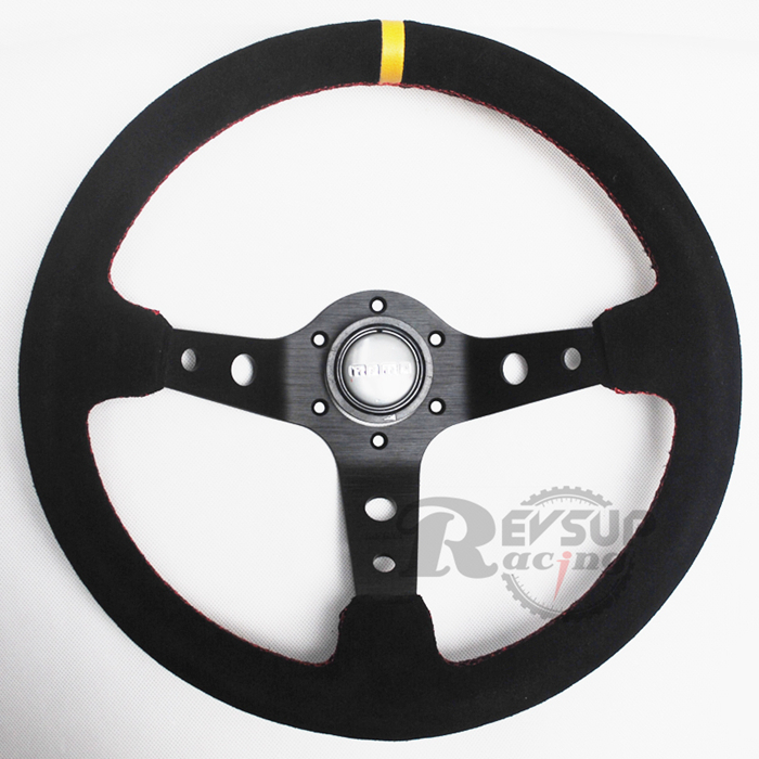 High Quality 350mm 14'' Deep Dish MOMO Suede Leather Performance Racing Car Steering Wheel(China (Mainland))