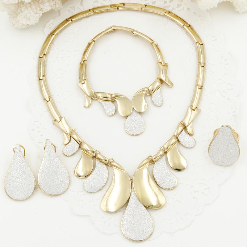2017 New Fashion Italian Sticker Design Jewelry Sets Dubai Women Bride Wedding Yellow Gold Plated Necklace Earrings Set(China (Mainland))