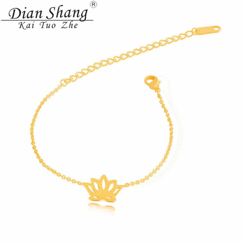 DIANSHANGKAITUOZHE Fashion Pulseira Feminina Bohemian Jewelry Gold Silver Plated Stainless Steel Lotus Charm Bracelet - Show store