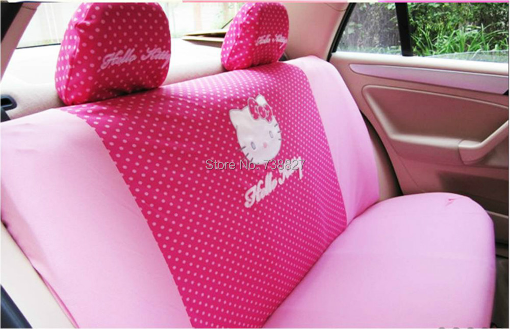 2015 real parking 18pcs set hello kitty women car seat cover car interior decoration birthday. Black Bedroom Furniture Sets. Home Design Ideas