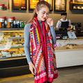 Ideacherry Fashion Brand Ladies Scarf Cotton Cashmere Oversize Red Shawl Scarf Winter Women Nation Style Tassel