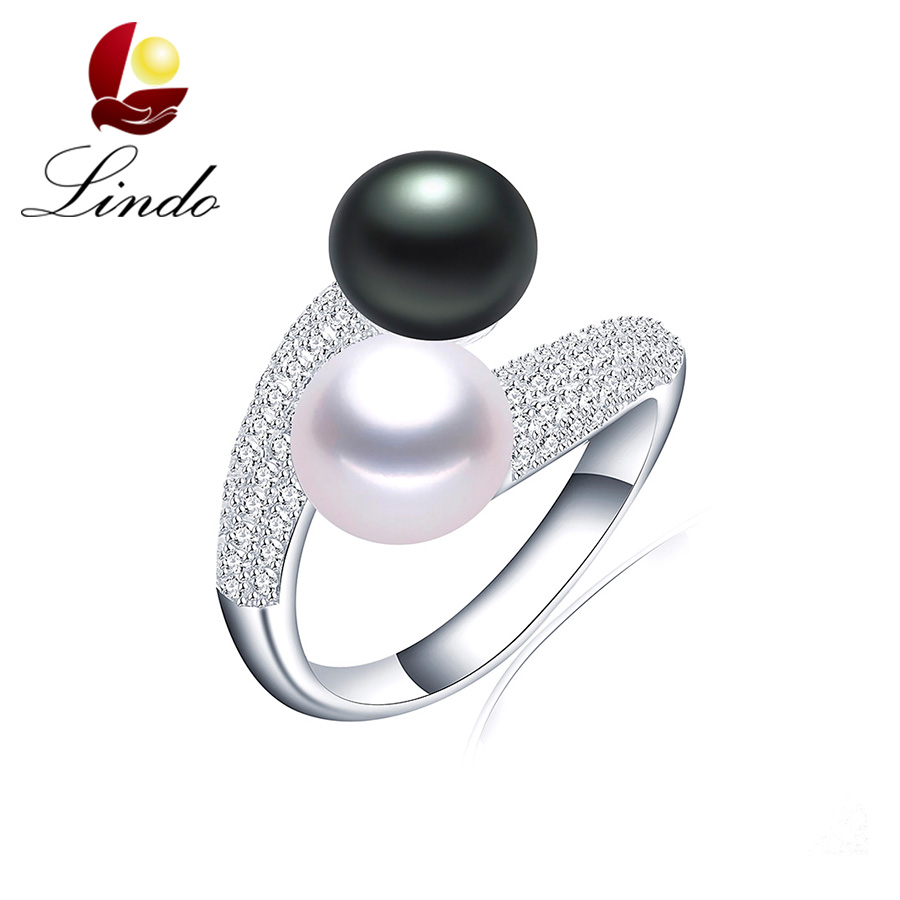 Fashion Brand Double 100% Natural Freshwater Pearl Women Rings Elegant Luxury AAA Zirconia 925 Sterling Silver Wedding Jewelry(China (Mainland))