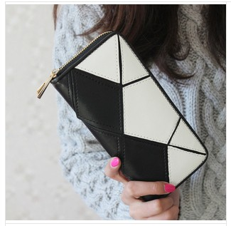 2014 women's wallet female long design Genuine Leather wallet football patchwork zipper horizontal wallet clutch Free Shipping(China (Mainland))
