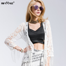 FROMMAZZ 2016 New Feminias Blusas Shirt Lace Chiffon Blouse Casual Vintage Kimono Cardigans Tassels Blouses Women Tops FS16017
