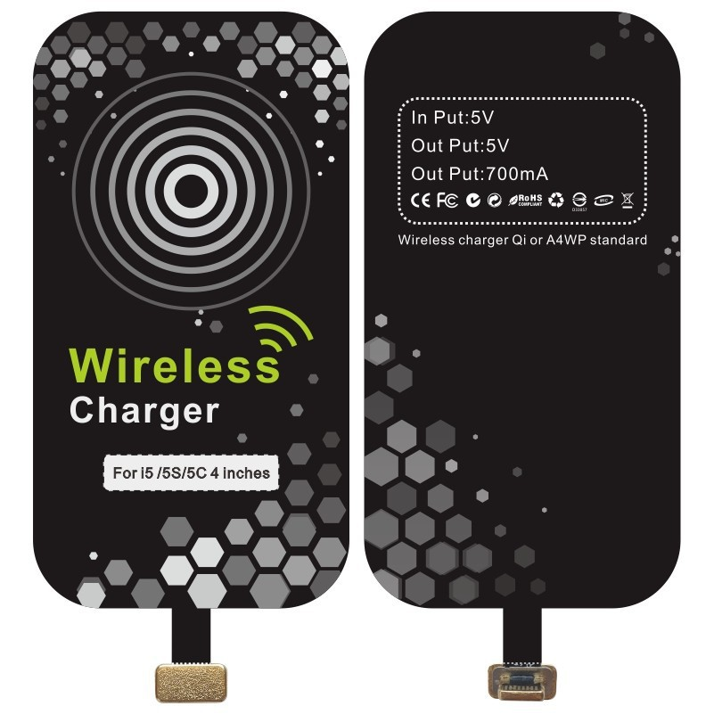 Free shipping Qi Wireless Charger Accessories charging wireless receiver for iphone 5/5S/5C(China (Mainland))