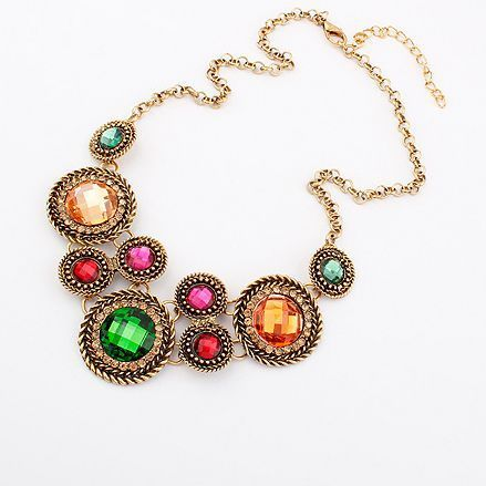 Min.order is $10 (mix order) 42L20 fashion luxury rounded gem necklace collar necklace wholesale free shipping