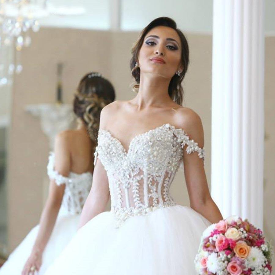 apparel lace corset wedding dresses promotion wedding corset Elegant Lace Appliques Straps Sweetheart Bodice Corset Ball Gowns Wedding Dress Pearl Beaded Bride Dresses Hochzeitskleid