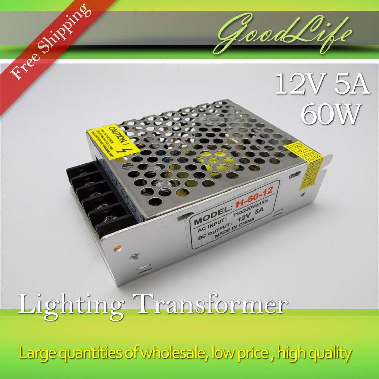 12V 5A 60W 110V-220V Lighting Transformer,High quality LED driver for LED strip 3528 5050 power supply,Free shipping(China (Mainland))