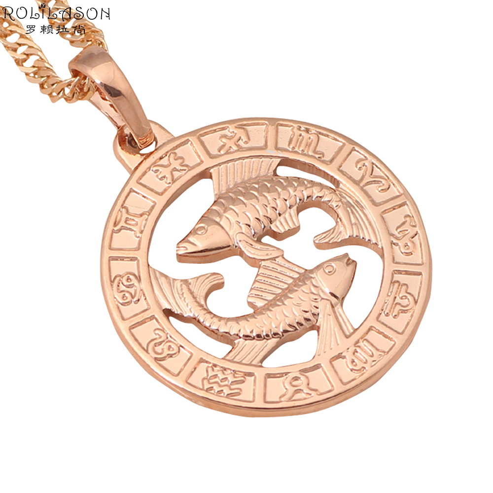 12 Constellation Round Pisces design glittering Necklace 18K yellow gold plated Fashion Jewelry Necklace Pendants LN454