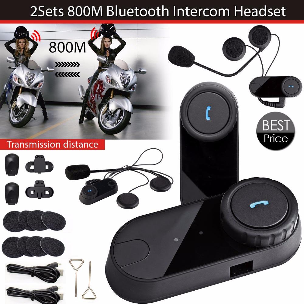 2pcs/Lot BT Bluetooth Motorcycle Helmet Intercom FM Radio Casco Casque Interphone Headset <br><br>Aliexpress
